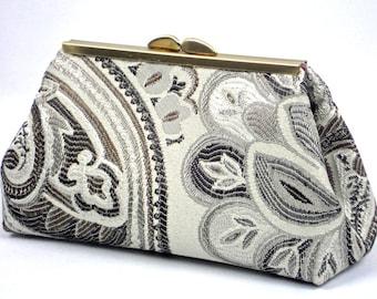 Silver Grey Clutch,Purse Organizer, Frame Clutch, Gift, Evening Bag, Gift  @ WhiteCross Designs in USA Ready to Ship