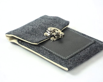 Eye Glasses or Small Phone Case, Blue Wool Herringbone Case with Leather Credit Card Pocket by WhiteCross Designs Ready to Ship