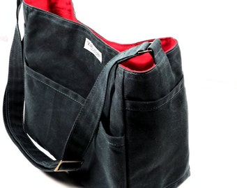 Waxed Canvas Crossbody Bag, Canvas Bag, Vegan Leather, Alternative Messenger Tote Purse,   SHILOH by WhiteCross Designs,  Made to Order