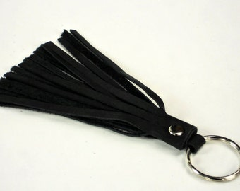 Leather Tassel Keyfob Black Real Leather Tassel with Keyring Handmade Accessory by WhiteCross Designs Made in USA
