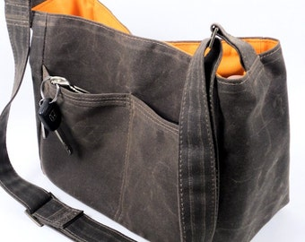 Brown Waxed Canvas Bag, Vegan Leather City Tote, Messenger Bag, Leather Substitute Handbag, Margeaux by WhiteCross Designs in USA