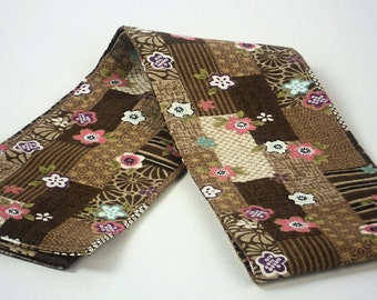 Draft Stopper in Brown Multi Patchwork Print,  Window Breeze Blocker, Draft Guard,  by WhiteCross Designs in USA, Ready to Ship