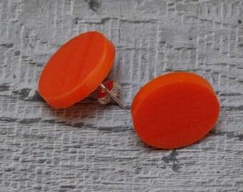 Silver Plated Valentines Cufflinks Orange Perspex Disc Cufflinks