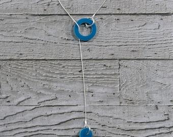 Turquoise Circles Drop Lariat Necklace