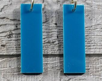 Turquoise Perspex Rectangle Earrings - Drop Earrings - Dangle Earrings - Blue