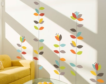 Bloemendaal - Colorful whimsical flower wall decal
