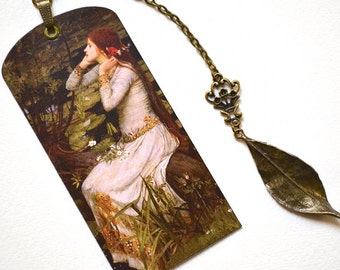 Mini Bookmark with Bronze Pendant - Painting - Pre-Raphaelite - Waterhouse - Handmade