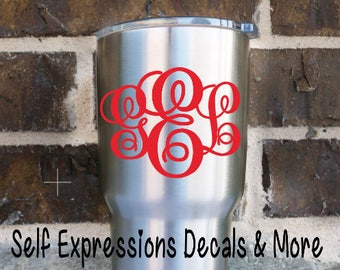 Monogram Decal // Personalized Tumbler Sticker