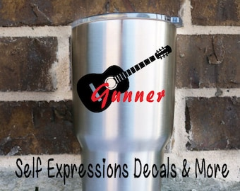 Guitar Personalized Vinyl Decal // Yeti Tervis Tumbler Cup Mug Water Bottle
