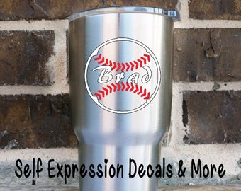 Baseball Softball Yeti Personalized Vinyl Decal
