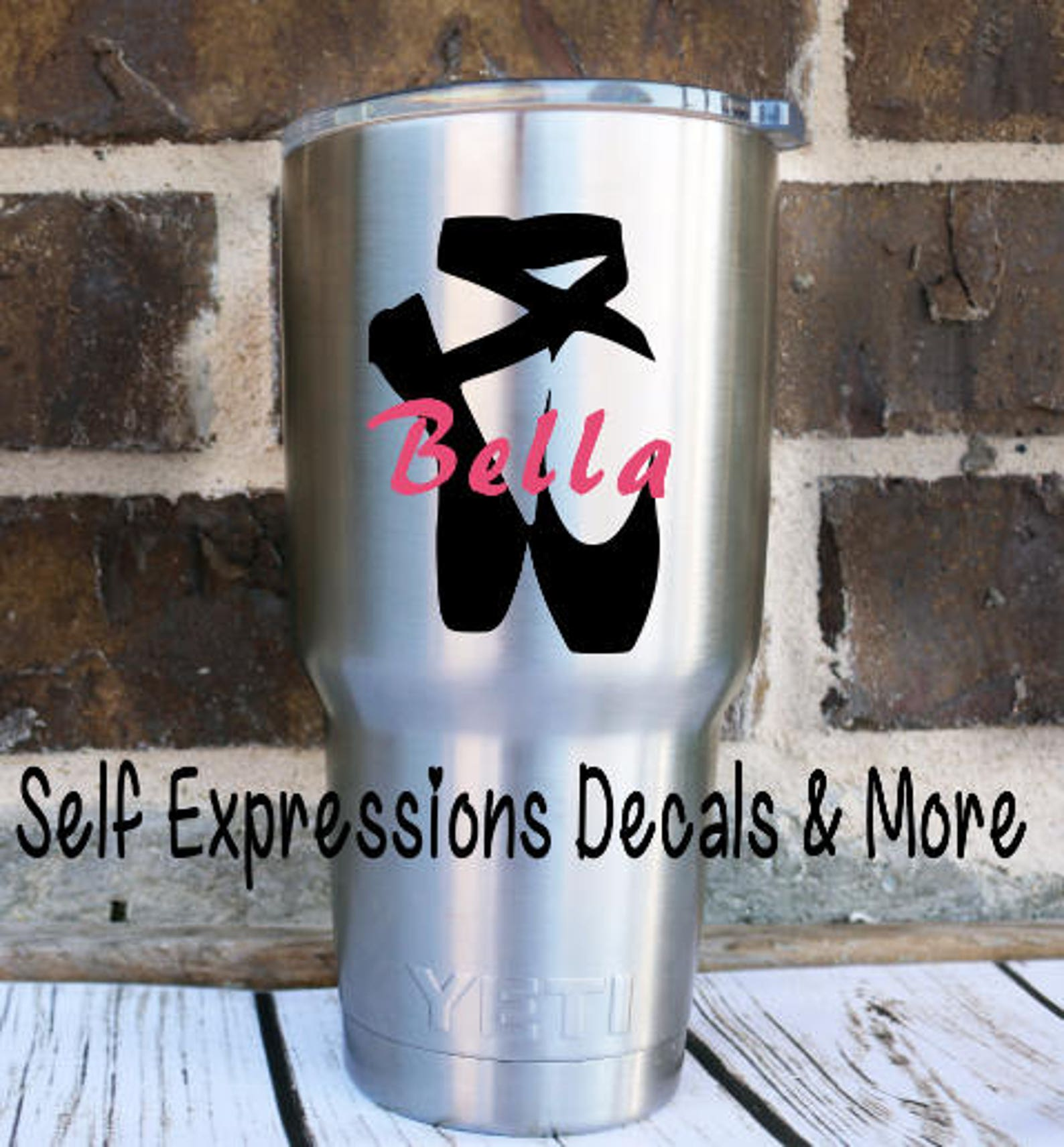 cup decal ballet dance toe shoes personalized yeti tumbler cup decal