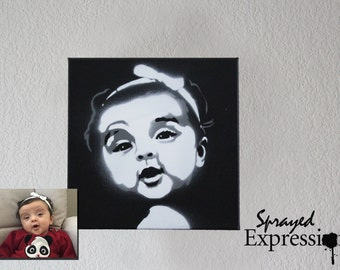 """Customizable Portrait Spray Paintings, 8""""x8"""" Canvas - Made to Order"""