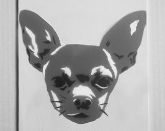 """Chihuahua Portrait Spray Painting, 8""""x10"""" Canvas Panel"""