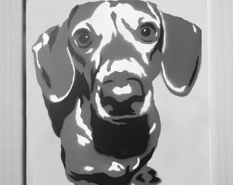 "Dachshund Portrait Spray Painting, 8""x10"" Canvas Panel"