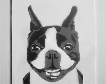 "Boston Terrier Portrait Spray Painting, 8""x10"" Canvas Panel"