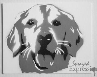 "Golden Retriever Portrait Spray Painting, 8""x10"" Canvas Panel"