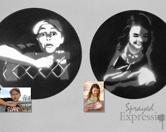 Custom Youth Portrait Spray Paintings on Upcycled Vinyl Record - Made to Order
