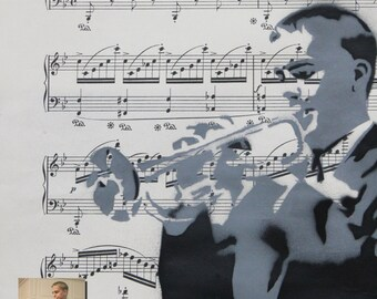 Customizable Portrait Spray Paintings on Vintage Sheet Music - Made to Order