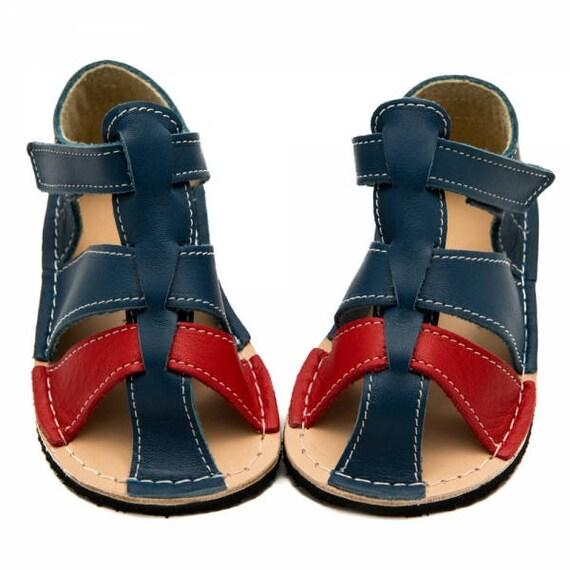 s en cuir bleu/rouge enfant en bas âge, doublure, doublure, doublure, crochet & Velcro, semelle Vibram, support de marcher pieds nus, tailles UE 16/17 à 24 - nous 2 à 7,5 | Matériaux De Haute Qualité  e11f06