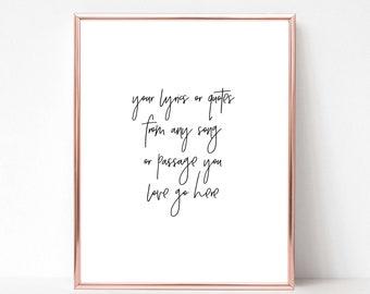 Lyrics ring etsy custom lyric poster personalized lyrics custom quote text personalized gift custom wedding choose your lyrics digital file only stopboris Images