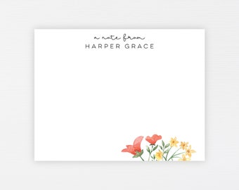 Wildflower Stationery Notes · Personalized Floral Flat Note Card Set · Custom Spring Florals Modern Note Cards Gift · DIGITAL OR PRINTED