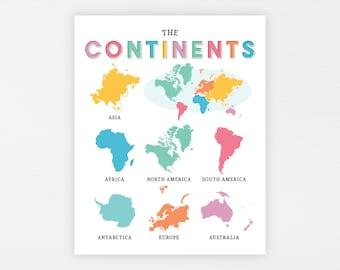 World Continents Education Printable · Homeschool Learning Montessori Materials · Classroom Wall Art · World Map Download · DIGITAL FILE