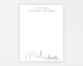 San Francisco Stationery · Personalized Travel Stationery Note Card Set · Custom Flat Card Gift · Minimal Sf Skyline · DIGITAL OR PRINTED