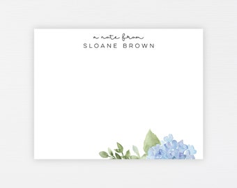 Hydrangea Stationery Notes · Personalized Blue Hydrangea Note Card Set · Custom Spring Florals Modern Note Cards Gift · DIGITAL OR PRINTED