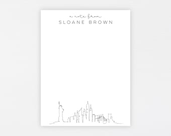 New York Stationery · Personalized Travel Stationery Note Card Set · Custom Flat Card Gift · Minimal Modern Ny Skyline · DIGITAL OR PRINTED