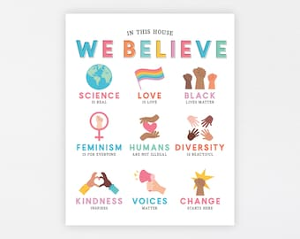 In This House We Believe Art Print · Diversity Education Kindness Poster · Family Beliefs Equality · Home Classroom Rules · DIGITAL FILE