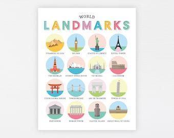 World Landmarks Education Printable · Homeschool Learning Montessori Materials · Classroom Wall Art · World Map Download · DIGITAL FILE