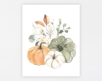Pumpkin Floral Fall Print · Floral Autumn Watercolor Print · Rustic Autumn Art Printable · Pumpkins Fall Home Decor Download · DIGITAL FILES