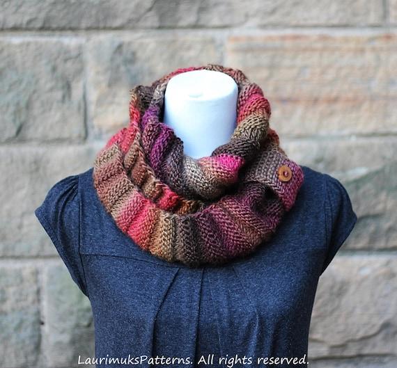 Knitting Pattern Walnut Infinity Loop Scarf Womens Scarf Etsy