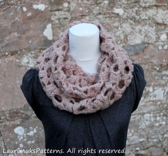 Crochet Pattern Crochet Lace Loop Scarf Cowl Snood Etsy