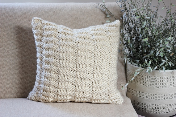 Knitting Pattern Pillow Dorina Pillow Cover Pattern Etsy
