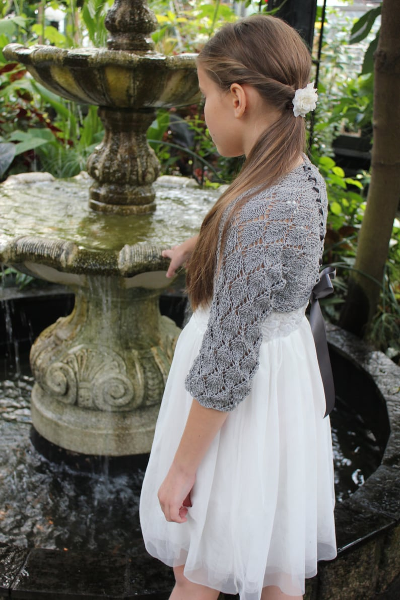 Knitting patterns for women and girls bolero pattern Lace Shrug with ribbon Listing148