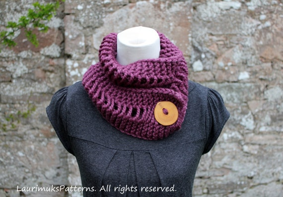 Knitting Patterns For Women Scarf Pattern Fig Skinny Button Etsy
