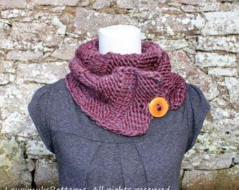 KNITTING PATTERNS for women, button scarf pattern - Listing85