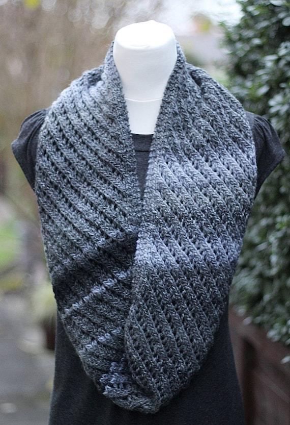 Knitting Pattern Grey Marl Infinity Diagonal Lace Scarf Etsy