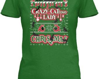 Crazy Cattino Lady Christmas  T-Shirt (Short Sleeve)