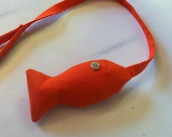 Orange TinoFish cat toy with Catnip