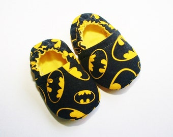 3b42cba2de9b Batman baby shoes slippers. Non skid soles for 9 months up. Cotton and  flannel.Made to order.