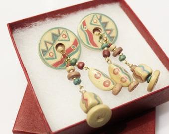 Vintage Hand Painted Wood Earrings, Ethnic Earrings, 1980's Jewelry