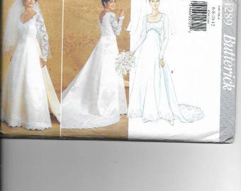 UNCUT Sewing Pattern Butterick 4289 For Wedding Dress And Train Sz 6 8 10 12