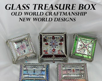 Display Box,  Jewelry Box, Trinket box, Bridal Gift, Stained Glass, Vintage Jewels, Swarovski Crystals, Made in USA, Faberge Style