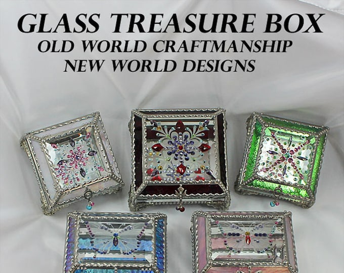Jewel Encrusted,Treasure Boxes, Stained Glass, Bridal Gift, Stained Glass, Vintage Jewels, Swarovski Crystals, Made in USA, Faberge Style