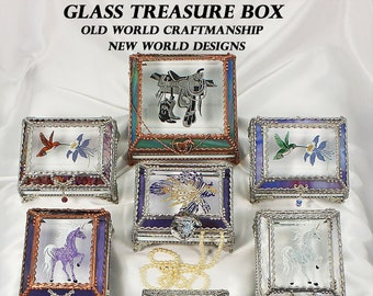 Hand painted, Treasure Boxes, Stained Glass, Bridal Gift, Stained Glass, Vintage Jewels, Swarovski Crystals, Made in USA, Faberge Style