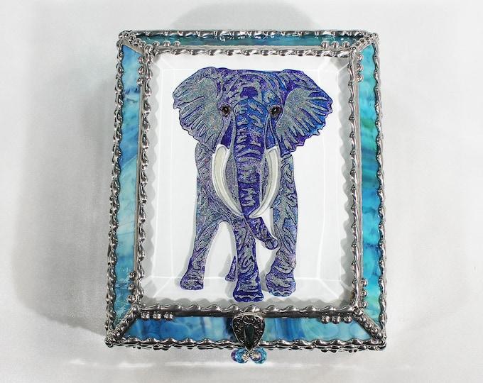 Elephant, Jewelry Box, Faberge Style, Trinket Box, Stained Glass