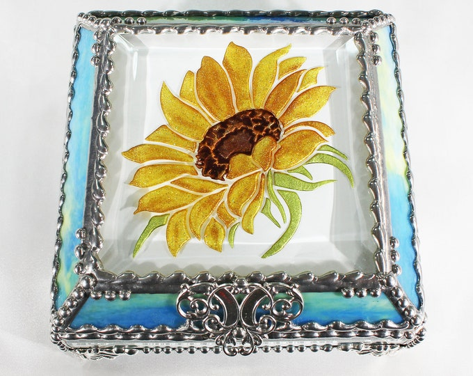 Sunflower, stained glass box, stained glass, display box, jewelry box, souvenir, trinket Box