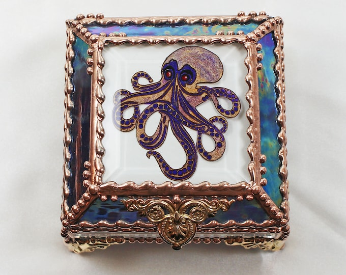 Octopus, Hand Painted, Stained Glass Box, Trinket Box, , Etched, Faberge Style